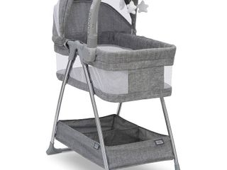 Simmons Kids City Sleeper Bedside Bassinet Portable Crib   Activity Mobile Arm with Nightlight  Vibrations  Twinkle lights and Rotating Stars  Grey Tweed  RETAIl  169 99