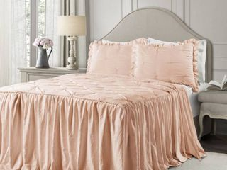 Ravello Pintuck Ruffle Skirt Bedspread Set   Pink Blush  King  RETAIl  165 00