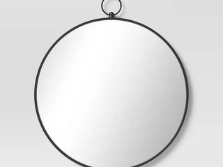 Round Metal Wall Mirror with Hanger Black   Threshold  RETAIl  50