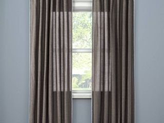 SET OF 3  Stitched Edge light Filtering Curtain Panel   Threshold  Dark Gray  54 x95   RETAIl  92 97