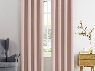 SET OF 2  Kenneth Energy Saving Blackout Grommet Curtain Panel   Sun Zero  54 x108  Pink Blush  RETAIl  34 98