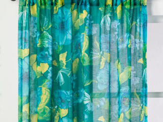 SET OF 2  Indochic Floral Sheer Curtain Panel Bluff Green   Opalhouse  63   RETAIl  39 98