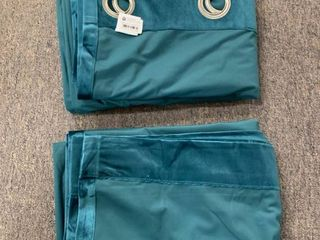 SET OF 2  Threshold Teal Velvet Curtain Panels  RETAIl  50