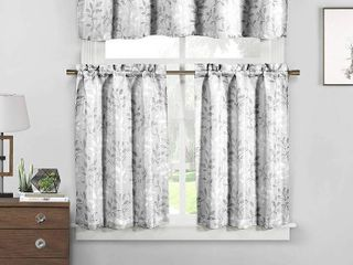 TWO SETS Duck River Textile Newbury   Kitchen Curtains  Silver  RETAIl  23 98