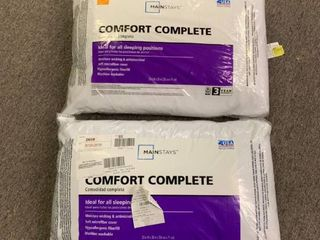 lOT OF 2  Comfort Complete Pillow   Standard Size   Ideal for All Sleeping Positions