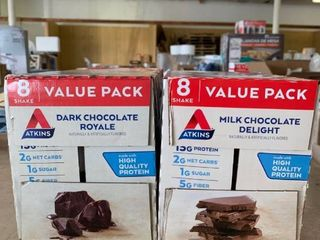 lOT OF 2 8 Packs  16 Shakes Total  Atkins Protein Shakes   Dark Chocolate Royale   Milk Chocolate Delight  RETAIl  22 98