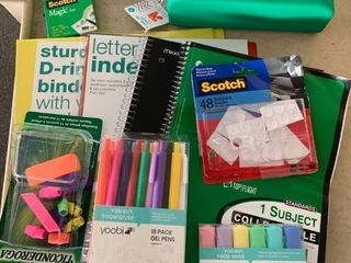 large lOT School Office Supplies  3 Ring Binder  Notebooks  Erasers  Pens  Highlighters   More