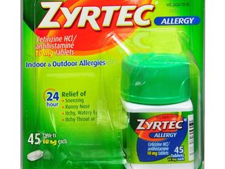 lOT OF 2 Zyrtec Allergy 24 Hour Relief 45 Tablets  10 mg each  RETAIl  49 99
