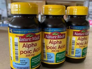 lOT of 3 Nature Made Alpha lipoic Acid 200 mg Softgels  30 Softgels each  90 TOTAl   RETAIl  36 87