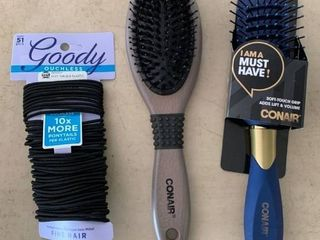 Hair Care lOT  2 Conair Brushes   large Pack Goody Ouchless Hair Elastics