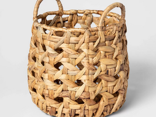 Decorative Cane Pattern 8 Sided Open Weave Basket Natural   Threshold  RETAIl  18 00