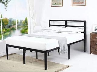 V lX 18 Inch Tall V1407 UP Support Head Support Bar Deluxe Metal Slat Bed Frame  Queen