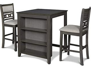 New Classic Furniture Gia Dining Set   Counter Table with Two Chairs   Storage Shelf   30    Gray
