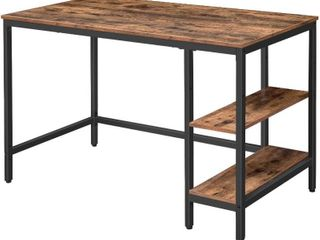 Hoobro 47  Computer Desk  Industrial Writing Desk w Adjustable Shelf on left or Right   Sturdy Metal Frame   Rustic Brown  Model BF59DN01