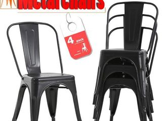Metal Frame Tolix Style 18a Bar Stools   Industrial Chairs   Set of 4