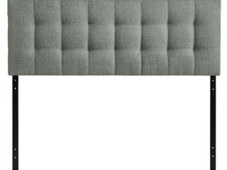 lily Queen Upholstered Fabric Headboard Gray   Modway