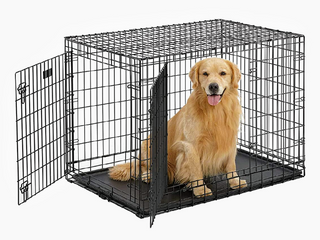 Ultima Pro Extra Strong Double Door Folding Metal Dog Crate w  Divider Panel    leak Proof Plastic Pan    42 75  l x 28 75  W x 31 375  H