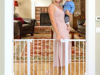 Cumbor 51 6 Inch Baby Gate Extra Wide  Easy Walk Thru Dog Gate for your House