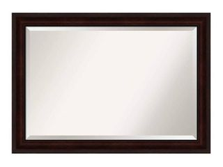 Amanti Art Framed Vanity Wall Mounted Mirror   Coffee Bean Brown large   29 25  x 41 25