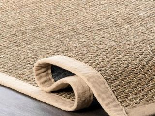 nulOOM Seagrass with Border Beige 2 ft  x 3 ft  Area Rug