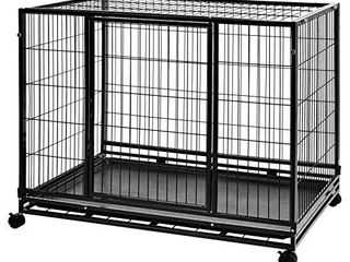 AmazonBasics Heavy Duty Stackable Pet Kennel on Wheels with Tray   42 Inches