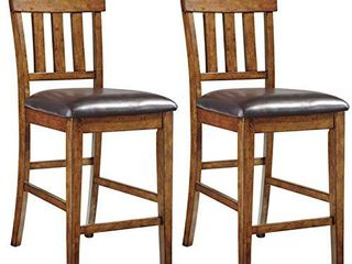 Set of 2   Signature Design by Ashley Ralene Counter Height Bar Stools   Medium Brown   Faux leather