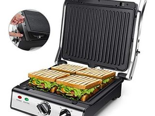 Electric Panini Press Indoor Grill with Removable Non Stick Coated Plates   Drip Tray