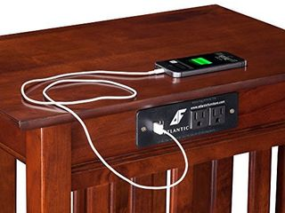 Atlantic Furniture Mission Chair Side Table with Charging Station   Walnut Finish