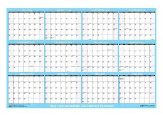24  x 36  Swift Glimpse 2020 2021 Academic Wall Calendar   Dry Erase laminated 12 Month Planner  2 Sided Vertical Horizontal Reversible  June to July   Classic Blue