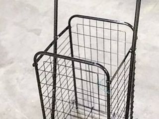 Small Compact Folding Grocery Shopping Cart with 20  x 12  x 12  Basket   Missing Hardware for Back Wheels