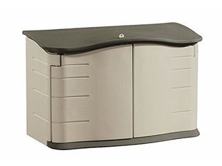 Rubbermaid Small Horizontal Resin Weather Resistant Outdoor Garden Storage Shed   Olive   Sandstone