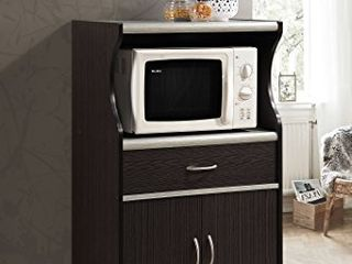 Hodedah Microwave Cart with One Drawer  Two Doors    Shelf for Storage   Chocolate