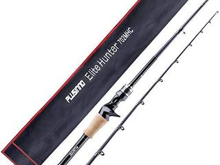 PlUSINNO 7 Ft  Elite Hunter Two Piece Spining Cast Fishing Rod   Graphite   Medium light   Fast Action   Freshwater or Saltwater