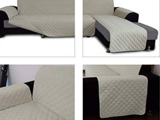Easy Going Sofa Slipcover for l Shaped Sofa Sectional Couch w Chaise lounge   Reversible Furniture Protector  Small  Beige Beige