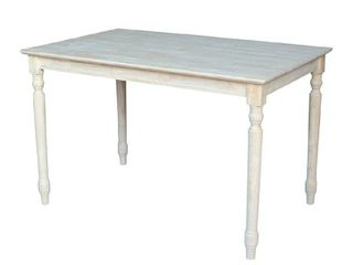 International Concepts Table Top   Solid with Wood Standard Height Turned legs   30 by 48 inch   Unfinished