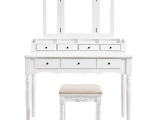 VASAGlE Vanity Set   Tri Folding Necklace Hooked Mirror  7 Drawers   6 Organizers   Dressing Table w  Cushioned Stool   White Model   URDT06M