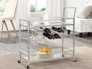 FirsTime   Co  Delilah Silver Bar Cart   32  H x 15  W x 12 25  D