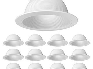 12 Pack   PROCURU 6  Metal Recessed Can light Trim Cover   Step Baffle with Ring   White