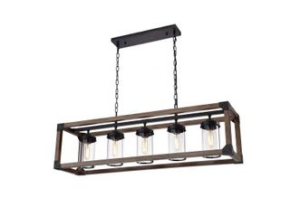 Daniela 5 light Antique Black Metal Rustic Island Pendant