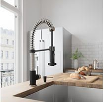 VIGO Edison Stainless Steel and Matte Black Kitchen Faucet   Retail 176 00