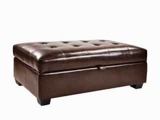 Corliving Antonio Storage Ottoman In Brown Bonded leather
