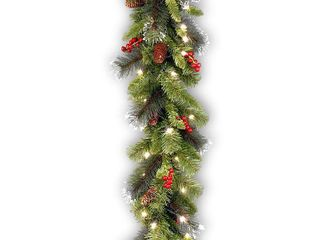 9 foot Pre lit Spruce Garland with lED lights  Cones  Berries  and Glitter   Green   9 foot