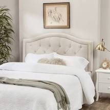Abbyson Velvet Headboard  Full Queen  Ivory