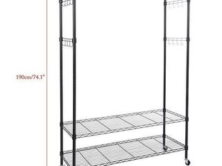 3 Tiers large Size Heavy Duty Wire Shelving Garment Rolling Rack Clothing Rack Retail 86 49