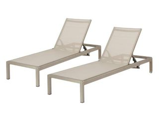 Cape Coral Outdoor Aluminum Adjustable Chaise lounge  Set of 2  by Christopher Knight Home   Retail 466 99