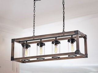 Daniela Antique Black Metal and Wood 4 light Chandelier   Retail 237 99