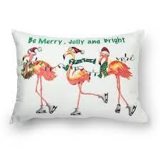 Accent   14  x 20    Polyester   Red Multi   Single  Sure Fit Christmas Flamingos Pink Decorative Throw Pillows