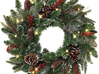 24a battery Operated lED Winters Pine Wreath