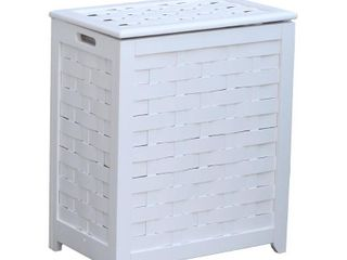 Oceanstar RHV0103W Rectangular Veneer laundry Wood Hamper  White Finished