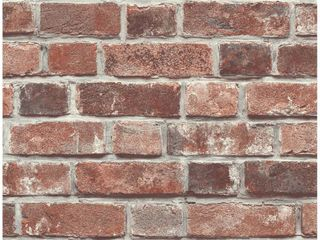 NextWall Distressed Red Brick Peel and Stick Removable Wallpaper   20 5 in  W x 18 ft  l   Red   Charcoal
